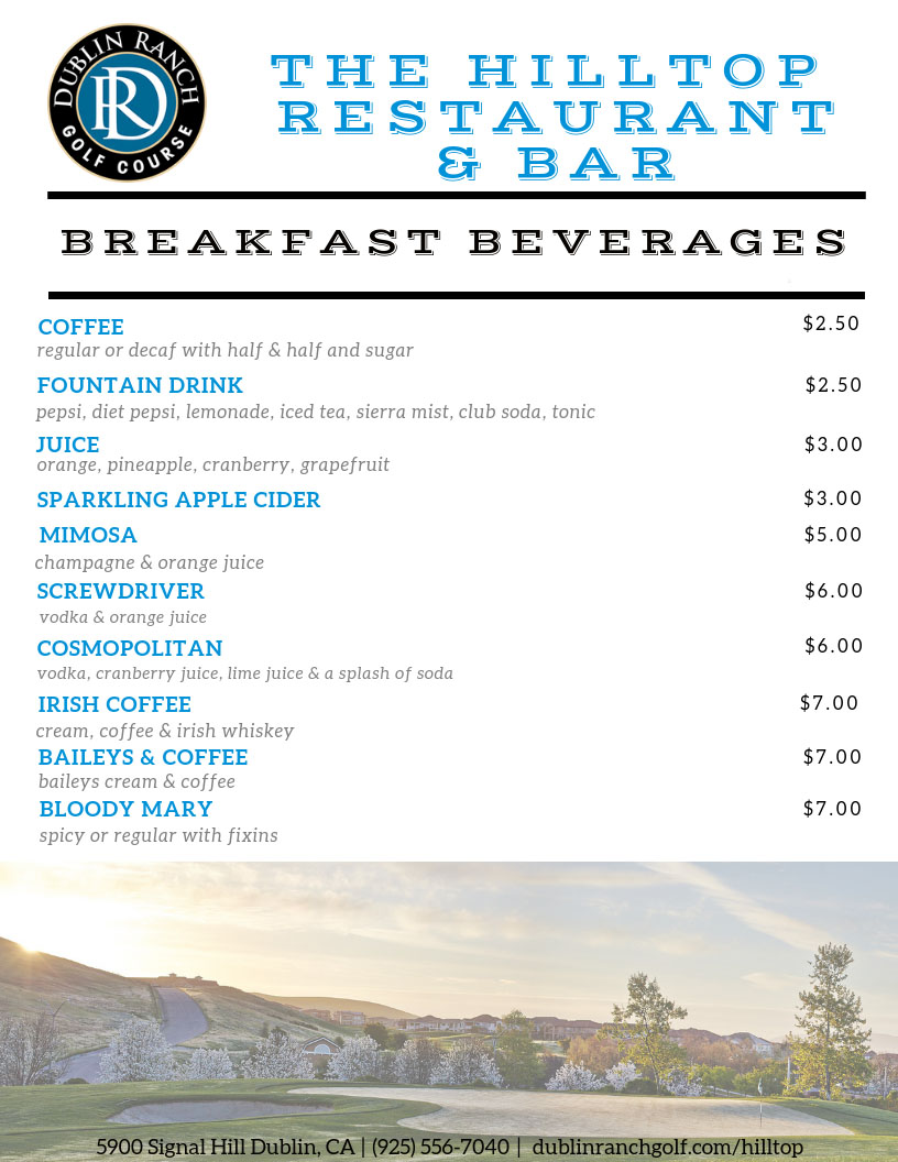 Breakfast drinks menu