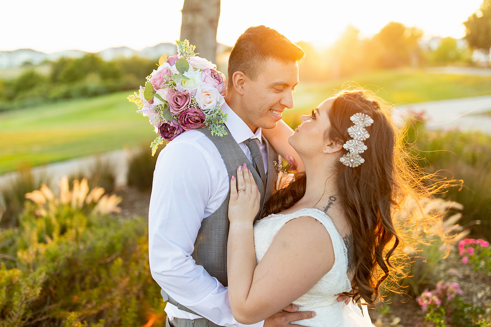 Wedding Couple during Dublin Ranch Golf Course Sunset