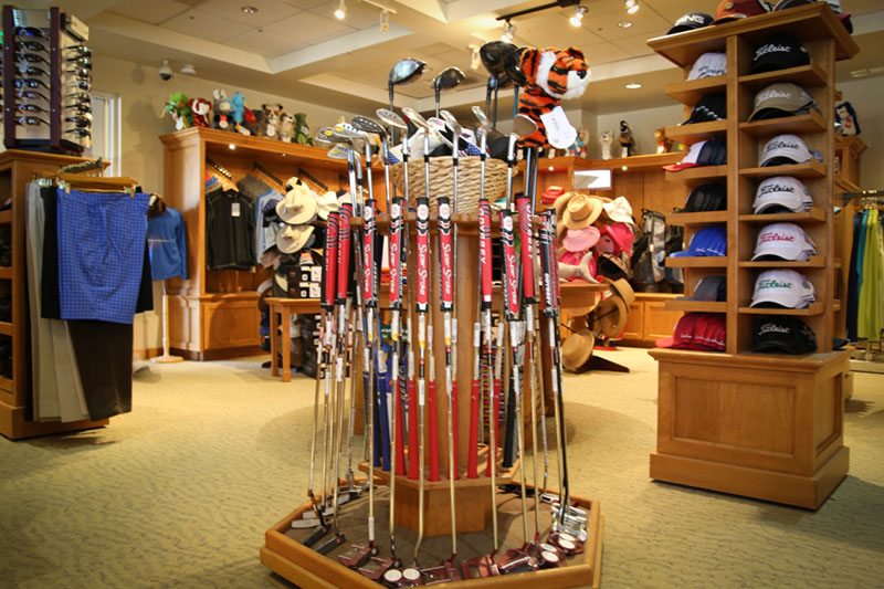 golf club display at the proshop