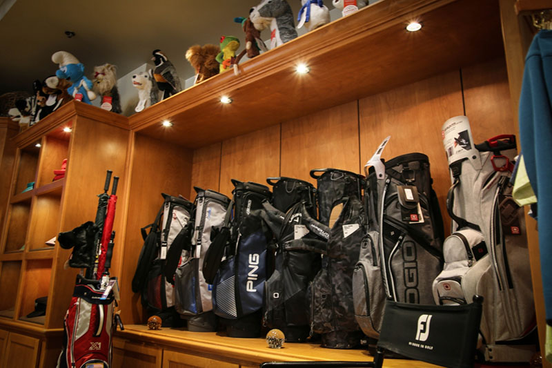 golf bags display at the proshop